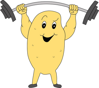 cartoon of gold potato weightlifting a heavy barbell overhead