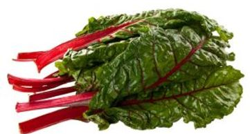 swiss chard bunch on white background