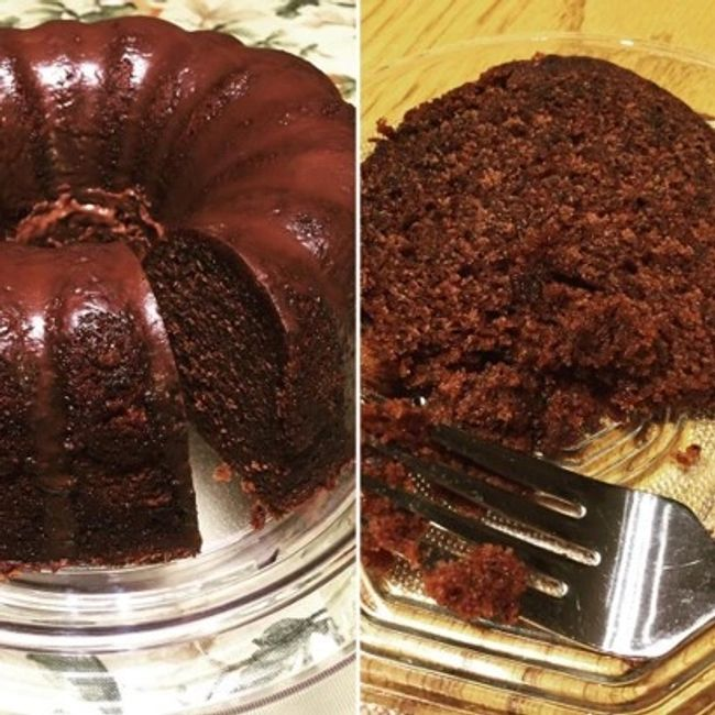 Photo of chocolate bundt cake with a slice removed. Second photo of cake slice on glass plate