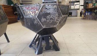 Customizable geodesic fire pit from koi lagoon in Fort Collins