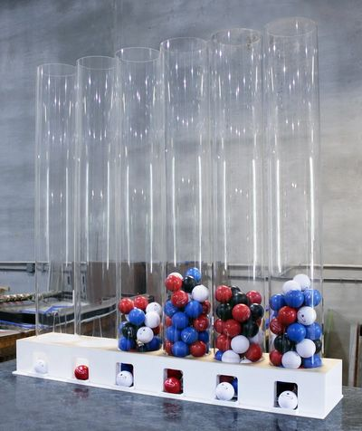 Creative Concepts Fabrication Custom Acrylic Gumball Machine Display for Trade Show exhibit.
