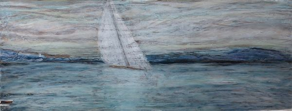 """Ethereal"", Oil pastel on salvaged wood plank, 9"" x 22"""
