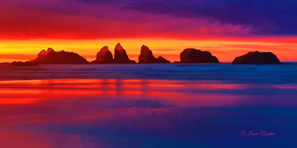 Oregon Coast Beach Sunset Bandon