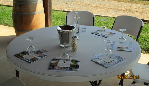 Picture of large round table with place settings for a wine tasting.