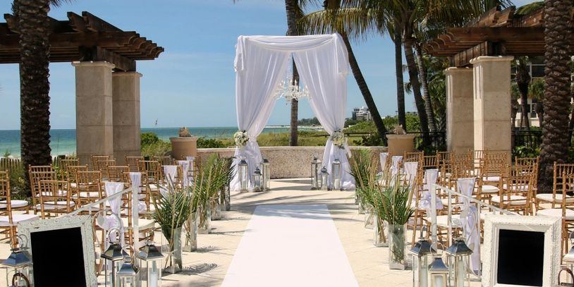 Tall Wedding Canopy with Chandeliers -Ritz Carlton Sarasota offered by Beach Breeze Weddings