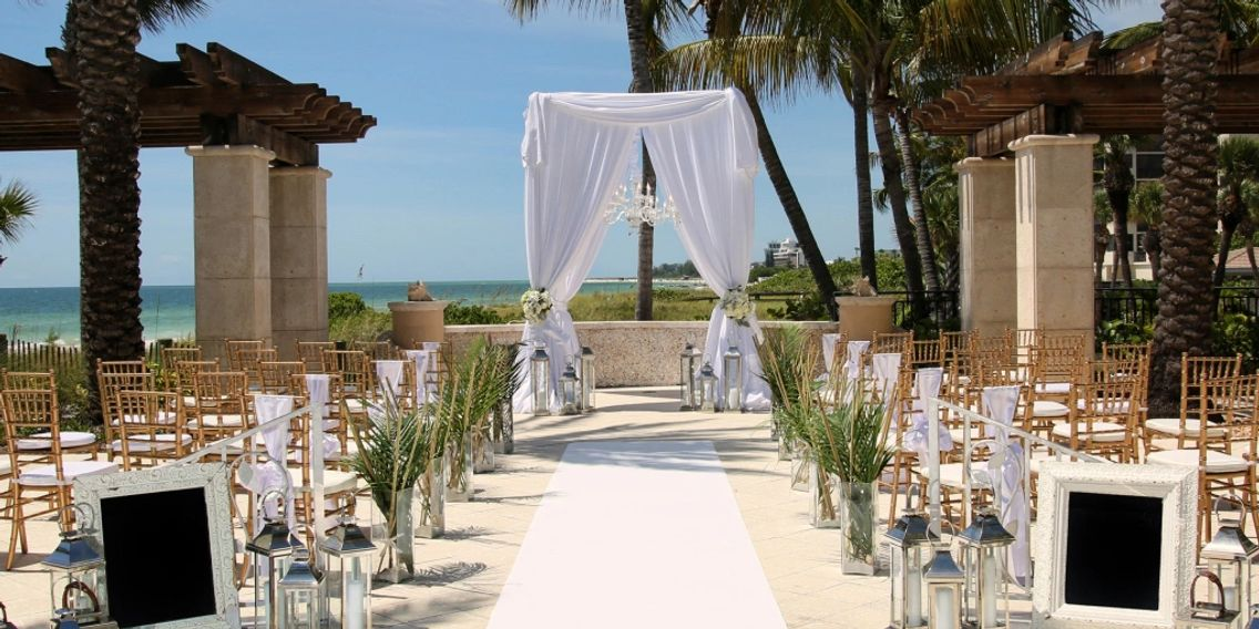 Sarasota Ritz Carlton Wedding Tall elegant Canopy design by Beach Breeze Weddings Sarasota FL