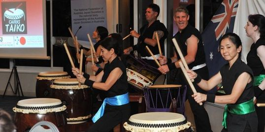 Cairns Taiko performing at the Annual Conference of Australia-Japan Societies