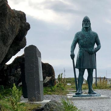 Statue of Leif Eiriksson, key character in Sagas & Sea Smoke, located at L'Anse aux Meadows.