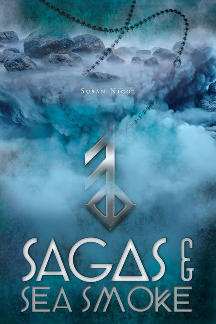 Book cover for Sagas & Sea Smoke, which appears on hardcover, paperback and digital copies.