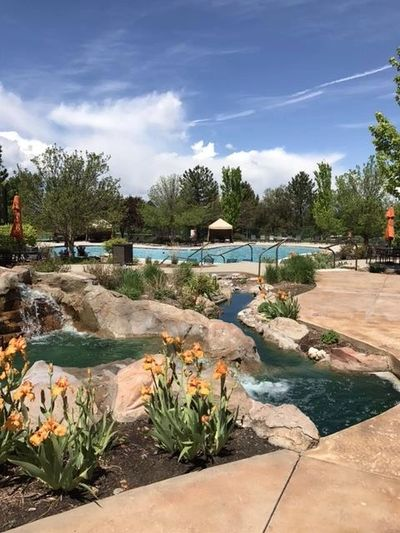 Palomino Park Swimming Pool and Gardens with stream