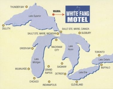 White Fang Motel. Wawa, Ontario, Canada. Lake Superior map.