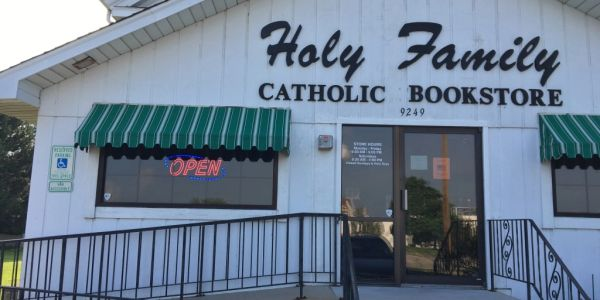 Holy Family Catholic Bookstore storefront.  Area's largest selection of Religious Books and Religious Gifts.
