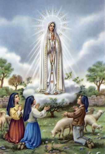 Image of Our Lady of Fatima appearing to the three children at the Cova de Iria in Portugal.