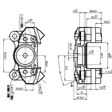 MSE GEM Formula Ford Brake Caliper Technical Drawing