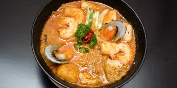 A bowl of Curry Laksa - Malaysian food.