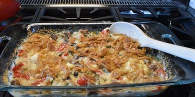 The famous green bean casserole made from fresh ingredients