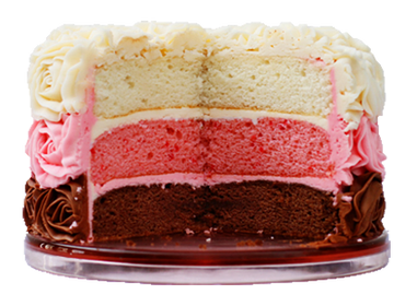"Layers of chocolate, strawberry, and yellow available in an 8"" cake perfect for the family."