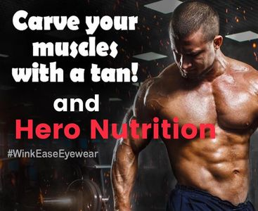 "Men tan too!  Get your additional ""workout"" needs from Hero Nutrition"