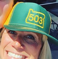 yellow and green 503 trucker hat