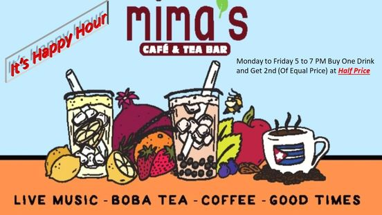 Mima's is happy to announces Happy Hours 5 to 7 PM Monday to Friday. Buy one drink and get 2nd drink