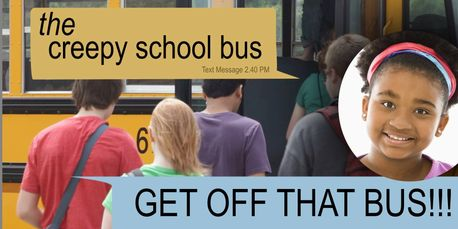 the creepy school bus poster from Don't Turn Around