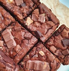 Brownies can be topped with all sorts of chocolates. *Contains eggs, dairy, gluten