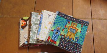 Custom fabric baby books. Washable toddler-proof baby shower gift. Lynne Ellen Small Batch Stitchery