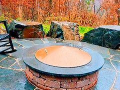 "alt=""brown conical sloped fire pit cover."""