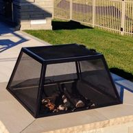 "alt="" Higley welding square rectangular stainless steel fire pit spark screen center mounted door."""