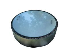 "alt=""flat fire pit cover made from stainless steel with double wall fire pit."""