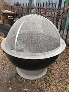 alt=fire pit bowl with lift off dome spark screen from Higley Welding""