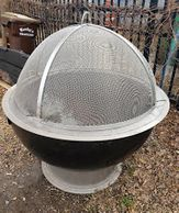 "alt=""Higley welding custom fire pit dome lift off spark screen"""