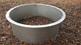 "alt=""stainless steel fire pit with 2"" flange made higley welding rogers mn."""