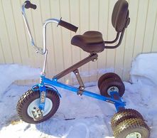 "alt="" Adult large blue tricycle with seat backrest."""