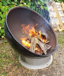"alt=""large fire pit bowl with stainless steel stand"""
