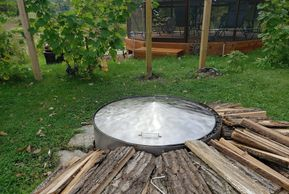 "alt=""stainless steel conical fire pit cover lid spark screen."""