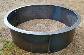 "alt=""steel fire pit liner insert 14 deep with 2"" flange."""