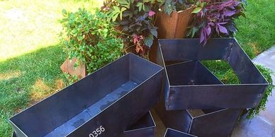 "alt=""Higley welding custom above ground metal steel planter box's."