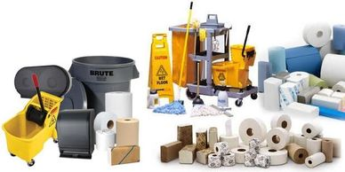 Lunchroom supplies, Janitorial supplies, paper towels, toilet paper, trash bags, cleaning supplies