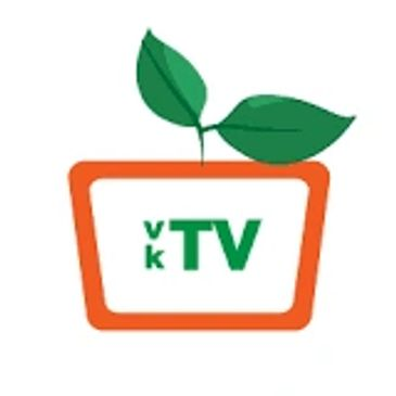 vegan kitchen tv logo - orange tv shape with two green leaves coming out of the tv