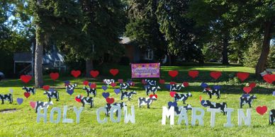 cows surprise lawn display yard display yard card party decorations adult birthday party