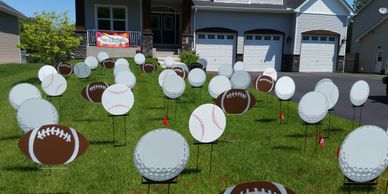 sports balls surprise lawn display yard display yard card party decorations adult birthday party