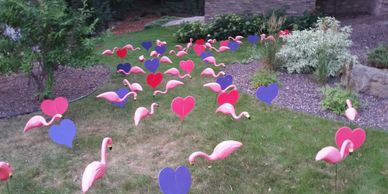flamingo surprise lawn display yard display yard card party decorations adult birthday party