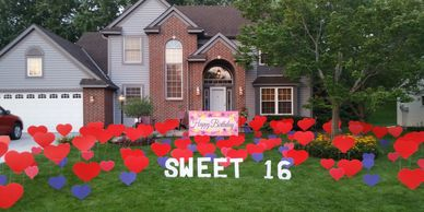 sweet 16 surprise lawn display yard display yard card party decorations adult birthday party