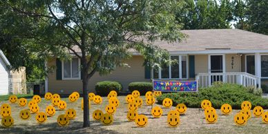 smiley face surprise lawn display yard display yard card party decorations adult birthday party