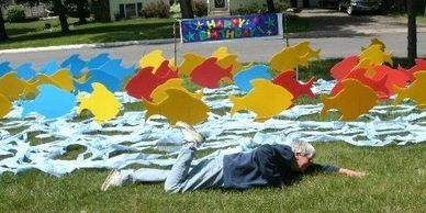 fish surprise lawn display yard display yard card party decorations adult birthday party