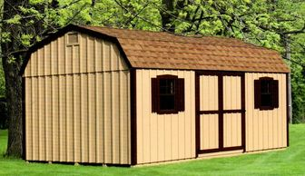 12x20 Dutch Barn, earthtone shingles, optional tan paint, brown trim, gable bents