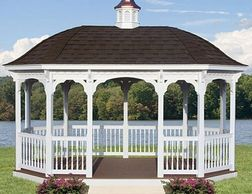 Oval vinyl gazebo with bell roof option & cupola