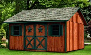 12x16 Manor, optional rustic cedar stain, green trim, manor doors w/stars, gable vents