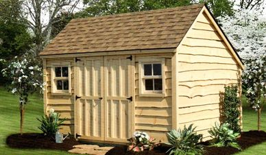 10x12 Garden shed shown with optional heritage siding & 4 lite windows